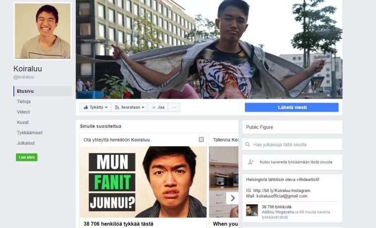 Phucin taitelijanimellä tehdyllä Facebook sivulla tykkääjiä on melkein 40 000.